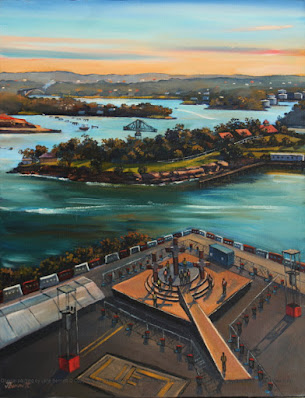 plein air oil painting of World Youth Day from the top of the Harbour Control Tower by industrial heritage artist Jane Bennett