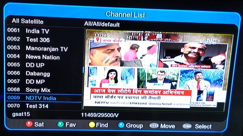 NDTV India News Channel added on DD Free Dish at Channel No 45