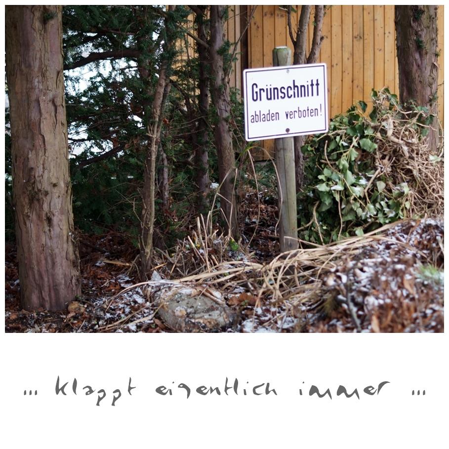 Blog + Fotografie by it's me! - Draussen - Magische Mottos im Januar, Grünschnitt abladen verboten