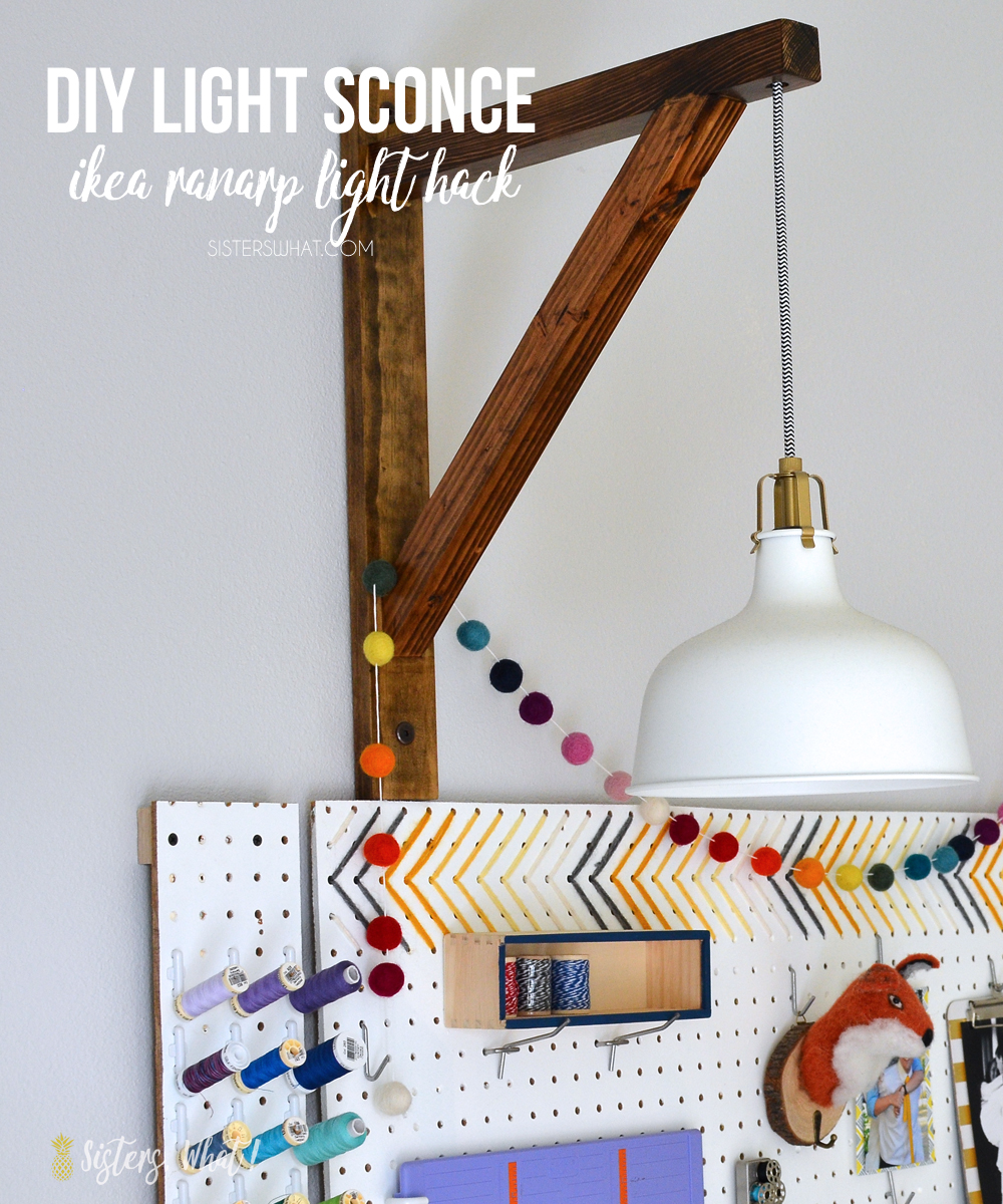 Ikea Lighting Hack Wall Mounted Diy Light Sconce Corbel Style Ikea Ranarp Light Hack Sisters What Diy Light Sconce Corbel Style Ikea Ranarp Light Hack Sisters What