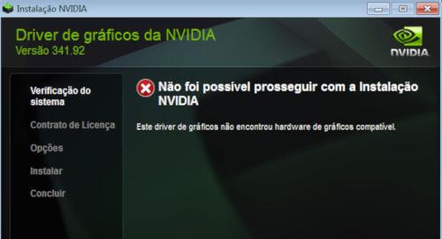 Não foi possível prosseguir com a instalação NVIDIA