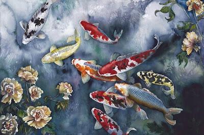 Gambar Ikan Koi Animasi Bergerak Lukisan 3D Fish Wallpaper HD Image
