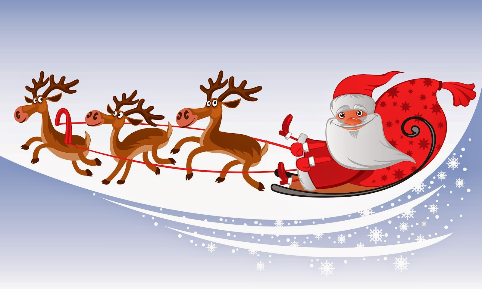 Santa Claus Coming To Town Riding His Reindeer Sleigh