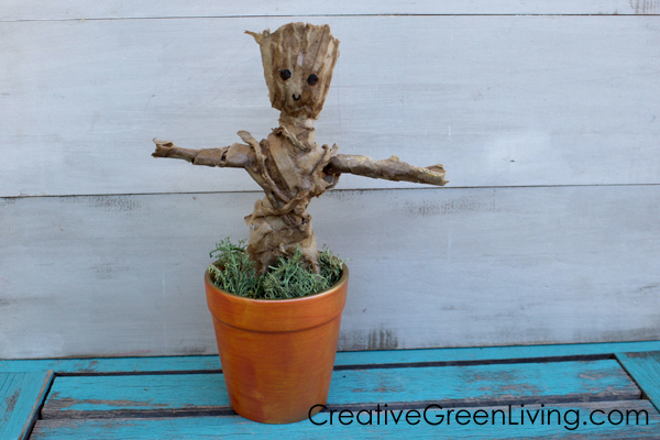 Make an upcycled DIY chia pet style planter that looks like Groot from Guardians of the Galaxy