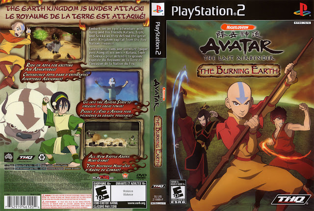 Capa PS2 Avatar The Last Airbender The Burning Earth