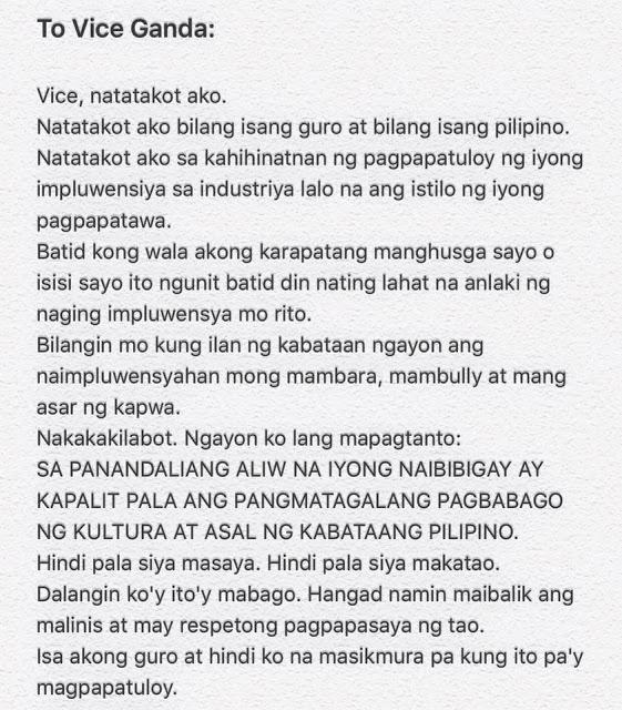 "A teacher wrote an open letter for Vice Ganda saying: ""Hindi pala siya makatao."""