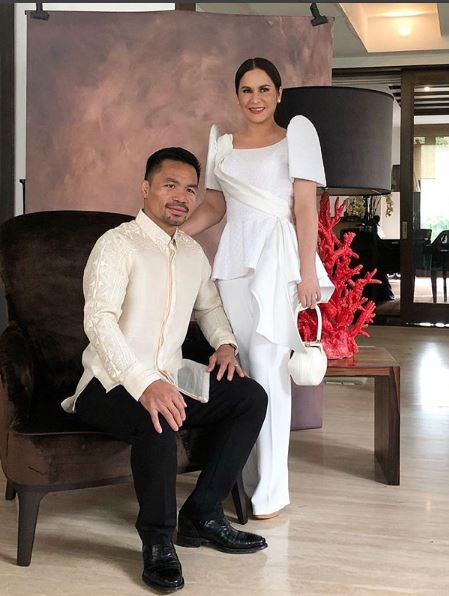 People's Champ Manny Pacquiao in barong Tagalog and wife Jinkee Pacquiao