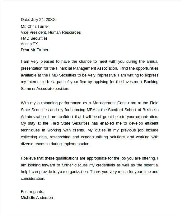 investment banking cover letter goldman sachs