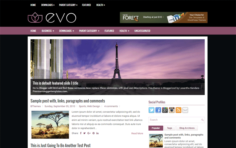 Evo Free Blogger Template