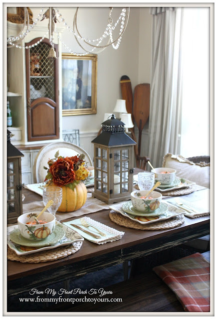 French Country- Farmhouse- Fall Tablescape-Fall Dining Room-From My Front Porch To Yours
