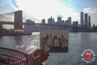 watercolor painting of the Brooklyn Bridge with NYC skyline