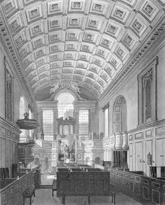 The German Chapel or Queen's Chapel, St James's Palace  from The History of he Royal Residences by WH Pyne (1819)