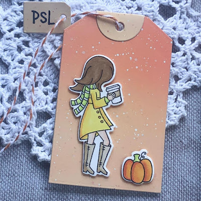 Pumpkin Latte Tag Card by October Guest Designer Noga Shefer | Pumpkin Latte Stamp Set and Fancy Edges Tag Die Set by Newton's Nook Designs #newtonsnook #handmade