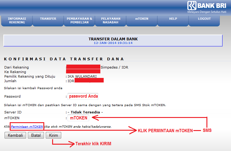 Cara Daftar Internet Banking Bri Contoh Cara Transfer Uang