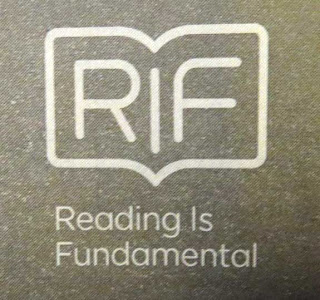 Reading Is Fundamental logo, with shape a of a book, R and F each on one page, with the I between like the spine of the book