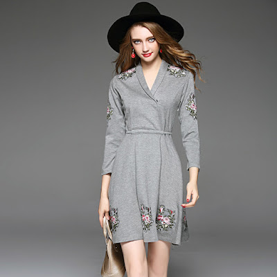 Europe Women's 2016 Autumn New V Neck Long Sleeve Embroidered Casual Modern Dress