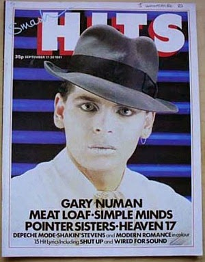 Gary Numan wearing a trilby on the cover of Smash Hits in Sept 1981