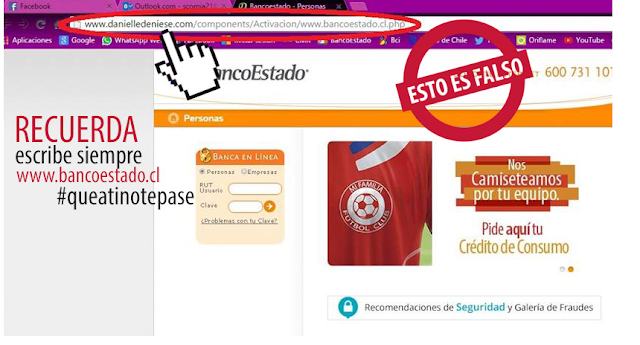 Sitio web falso que simula ser un Banco Estado imagen