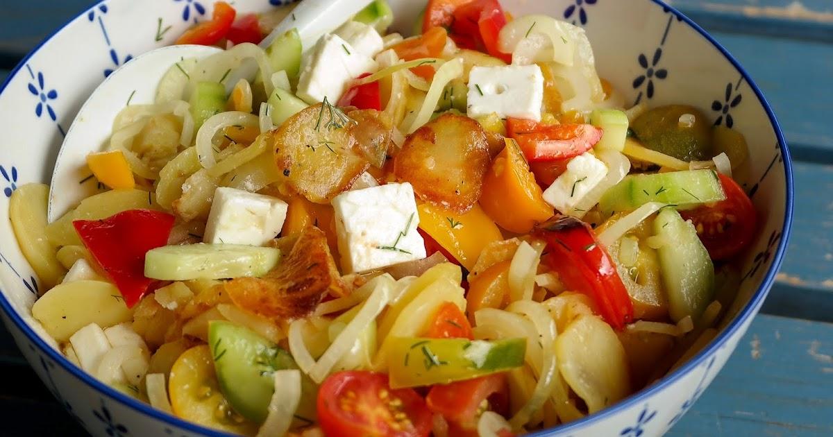 Sommerlicher Kartoffelsalat mit Bratkartoffeln
