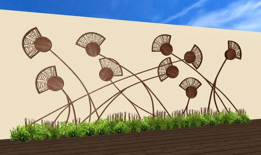 Adornos estilizados para jardines campos de amapolas y for Decoracion para pared en hierro