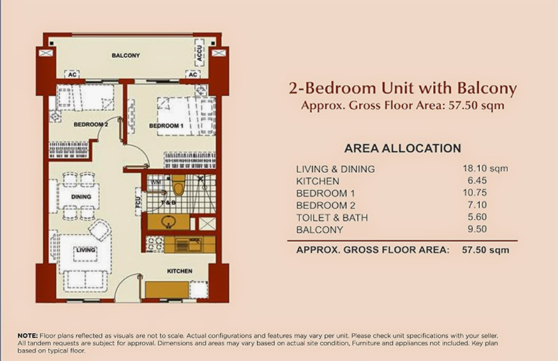 Brio Tower 2-Bedroom Unit B 57.50 sqm.