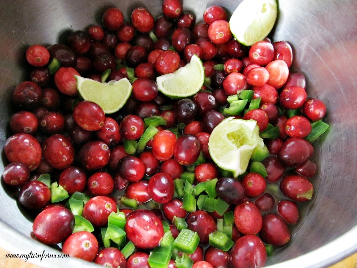 cranberries and jalapeno peppers