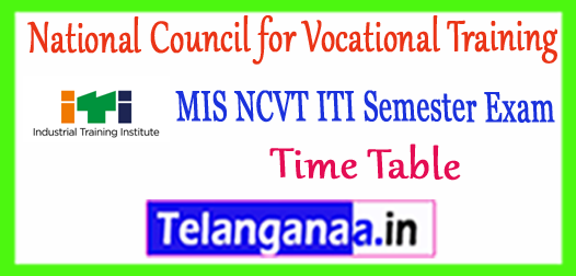 MIS NCVT ITI 1st 2nd 3rd 4th Semester Time Table 2018