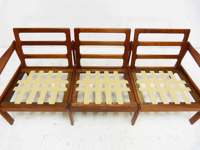 Teak Three-Seater Sofa by Illum Wikkelso Danish Modern Webbing