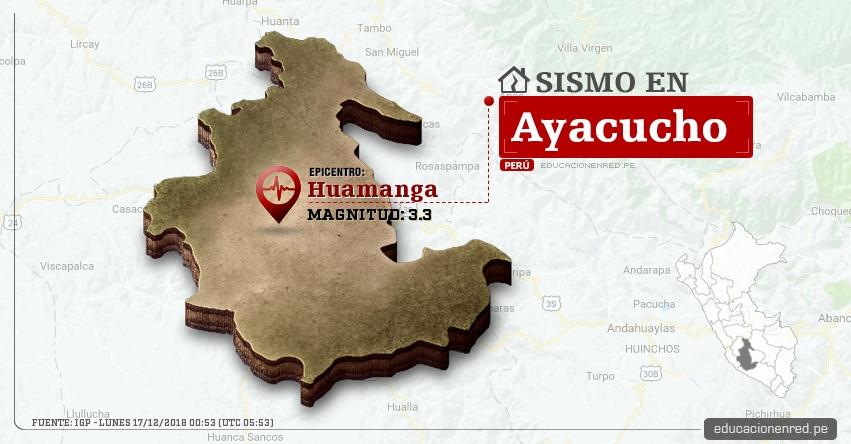 Temblor en Ayacucho de Magnitud 3.3 (Hoy Lunes 17 Diciembre 2018) Sismo Epicentro Huamanga - IGP - www.igp.gob.pe