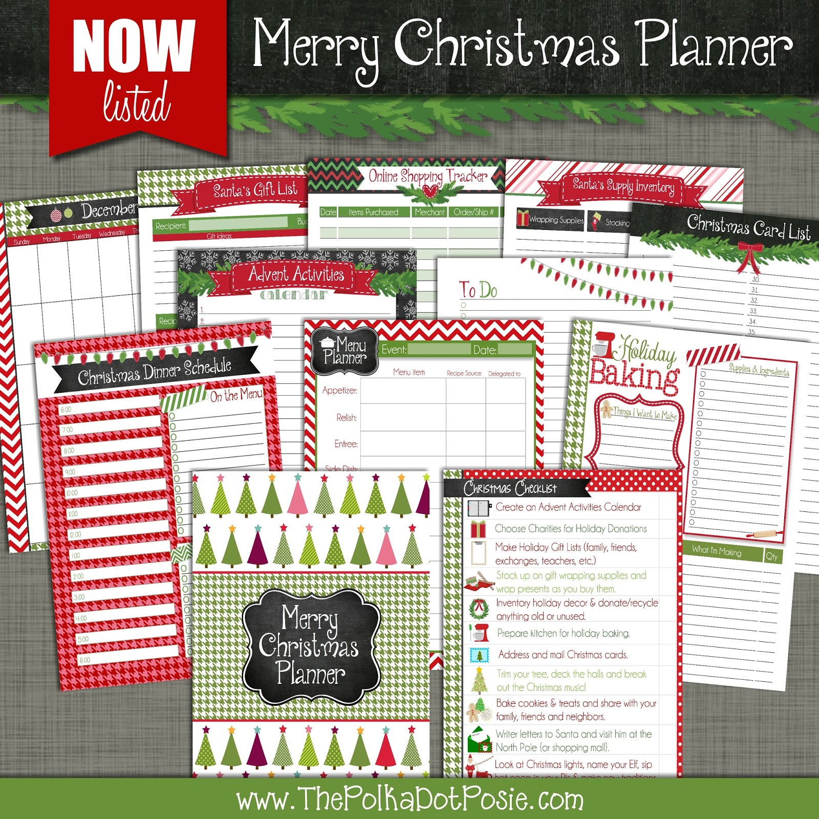 Christmas Planner Printables Free.The Polka Dot Posie Christmas Is 100 Days Away Download