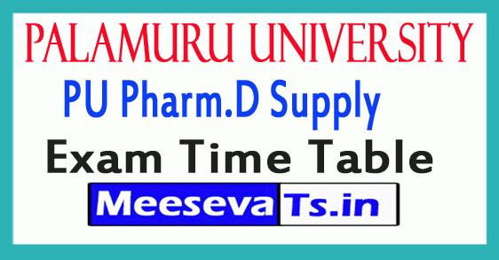Palamuru University PU Pharm.D Supply Exam Time Table