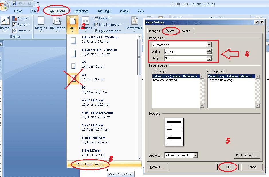 Cara Menambahkan Ukuran Kertas Di Word - Berbagai Ukuran