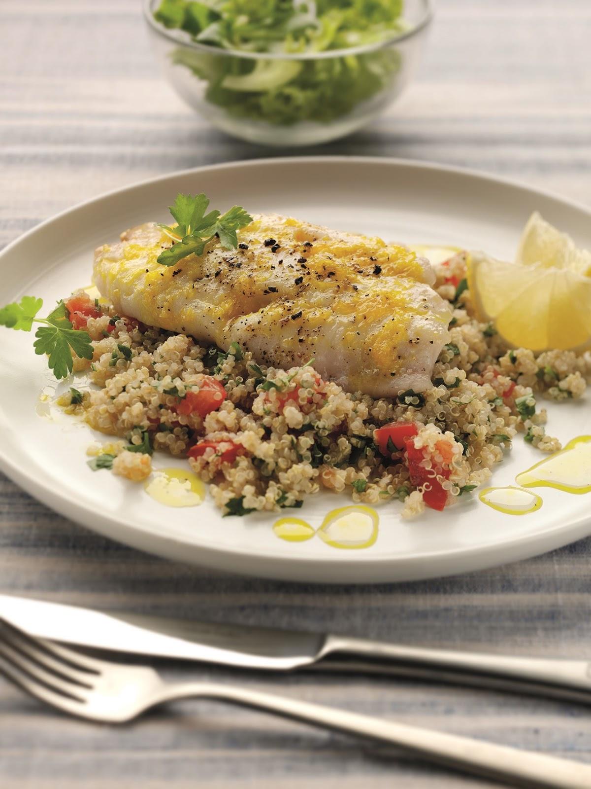 Baked Lemon Cod With Quinoa Tabbouleh