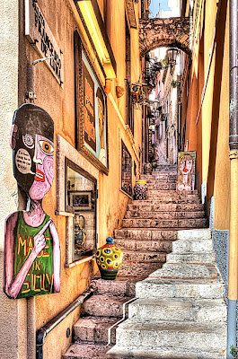 HDR image of alleyway in Taormina, Sicily - Italy