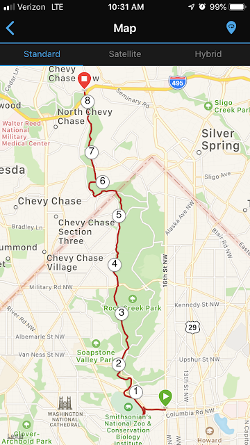 Screenshot of a map of my route.