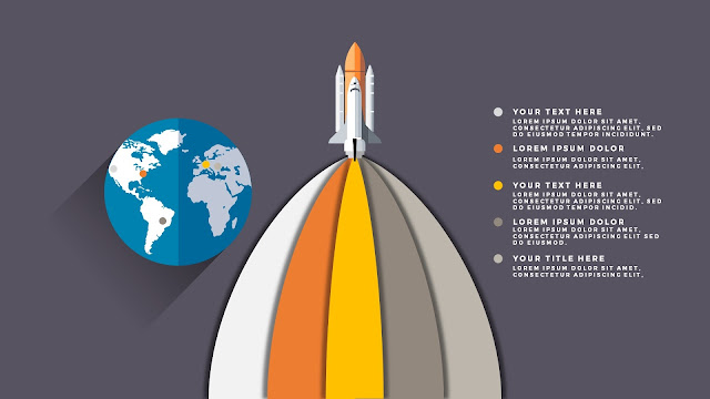 Free PowerPoint Template with Rocket Infographics and Shadow Number Option