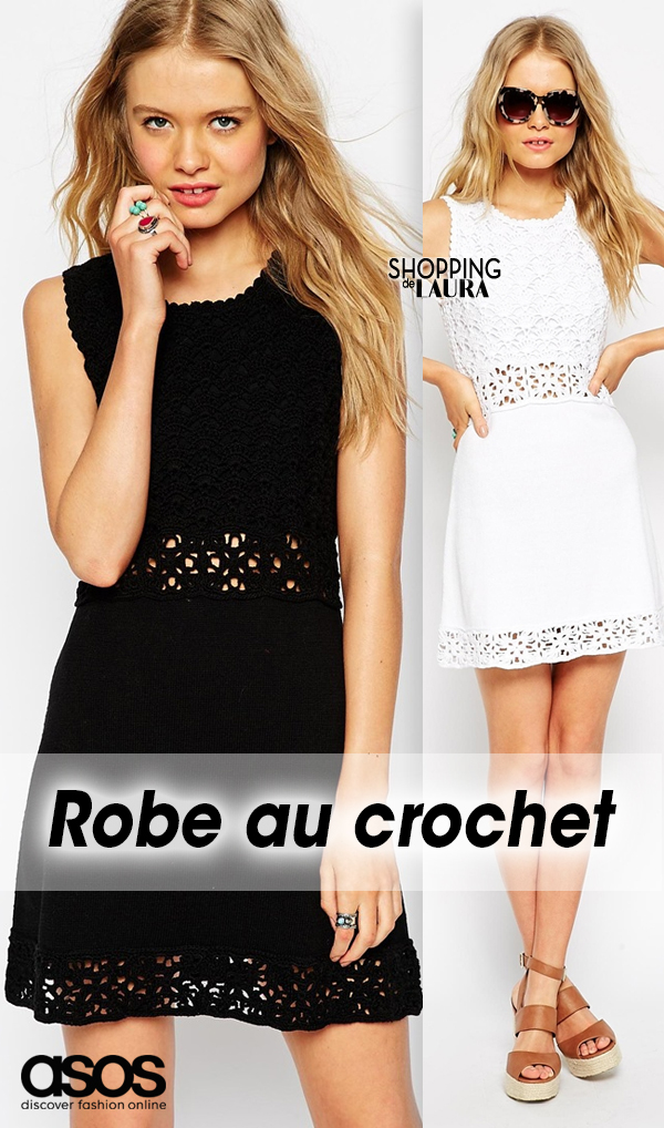 Robe tricot crochet blanche ou noire ASOS