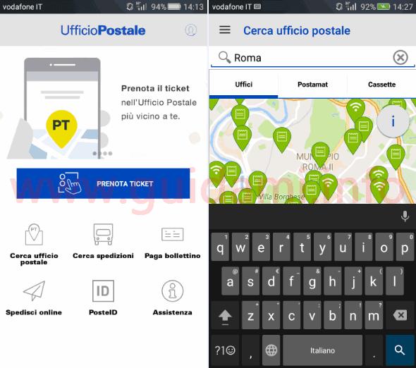 App Ufficio Postale ricerca uffici Posta in città per ticket online
