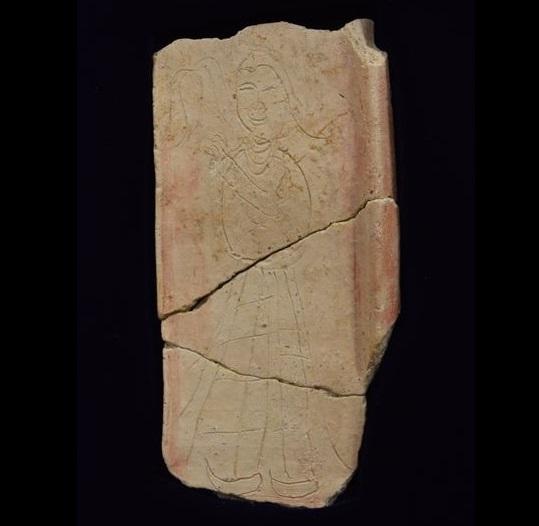 Clay pagoda fragment featuring nymph found at Japan's Ishikawa ruins