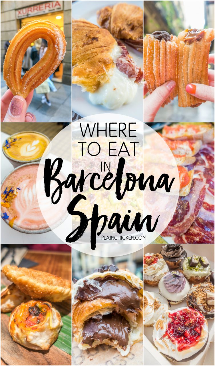 Where to Eat in Barcelona - churros, tapas and more! PLUS a life-changing Nutella croissant that you MUST get on your trip to Barcelona!! SO much great food!