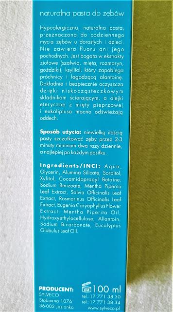 Sylveco naturalna pasta do zębów bez fluoru