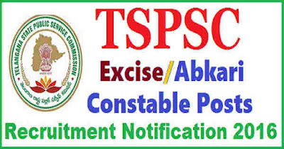 TELANGANA TSPSC PROHIBITION EXCISE CONSTABLE RECRUITMENT 2016 Notification 340 Posts TSPSC jobs, Age Limits, Educational Qualifications, district wise vacancies, Abkari Constable Syllabus, Scheme of Exam, Selection Process, Application Fee, Physical requirement, TSPSC application Form, Pay Scale details, centers of Examination, Hall tickets Download etc., information given in Notification. Candidates looking for Government Jobs in Telangana, can apply for the TSPSC prohibition Excise Constables Recruitment 2016. Education Qualification Dee Details PET PQT Syllabus District Wise Posts