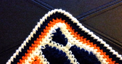 Crochet afghan herringbone border