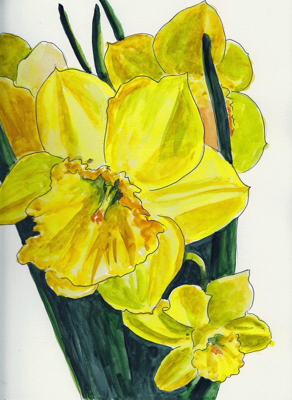 DAILY PAINTERS MARKETPLACE: DAFFODIL WATERCOLOR PAINTING