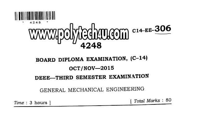 C-14 DEEE OLD GENERAL MECHANICAL QUESTION PAPERS PDF FORMATE FOR FREE DOWNLOAD