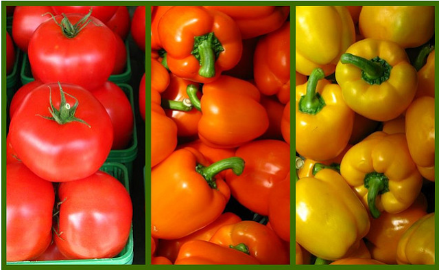 Colourful peppers and tomatoes