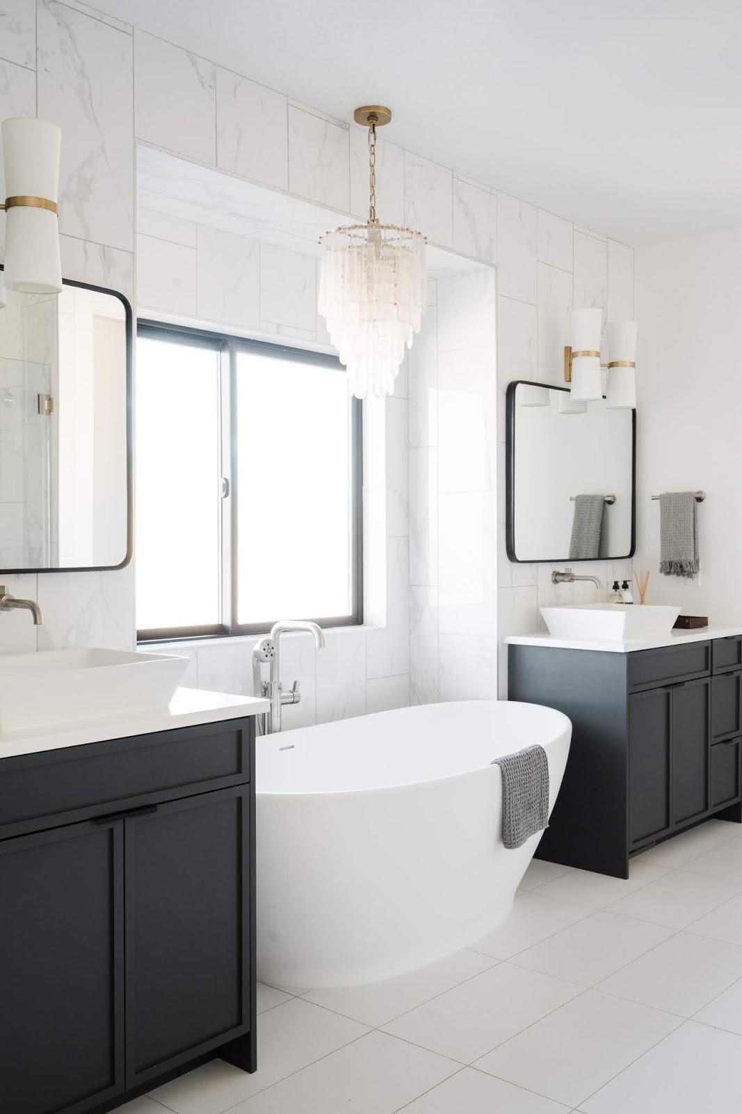 Modern Bathroom, Blue Cabinets