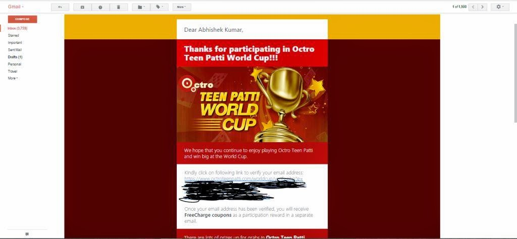 teen patti verify mail