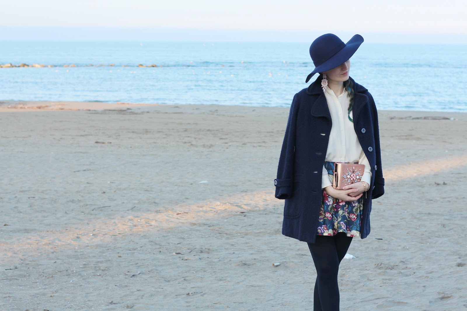 fashion style blogger italian girl italy vogue glamour flowers skirt new look bag pink shoes heels bar zara scarpe rosa vintage hairstyle colored hai hairstyle blue axels laboratory soutache earrings pescara
