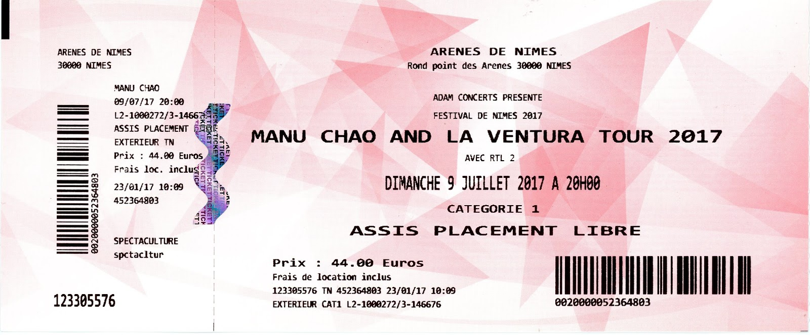 Manu Chao Por El Suelo Anciens Billets De Concerts Old Concert Tickets Back
